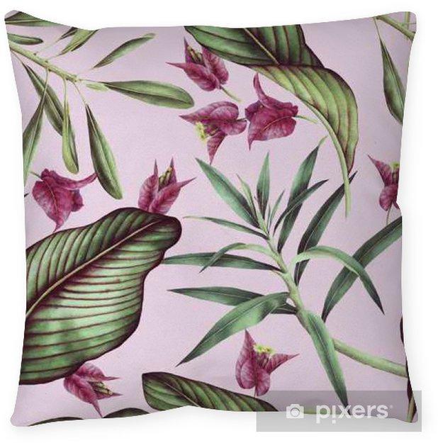 Povlak na polštář Bezešvé tropické květiny vzor, akvarel. - Rostliny a květiny