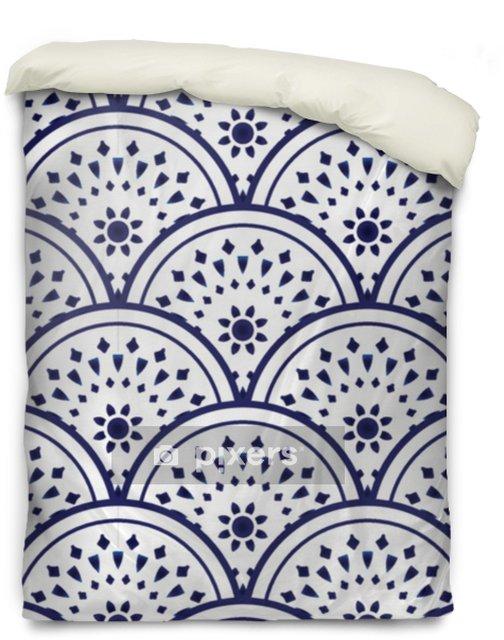 Povlak na přikrývku Keramický vzor modrá a bílá - Grafika