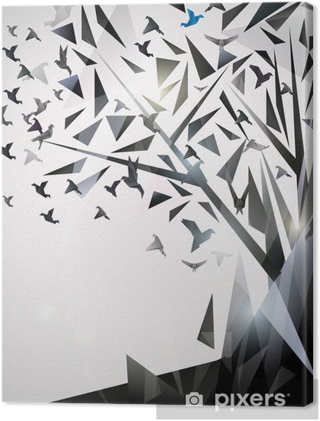 Abstract Tree with origami birds. Premium prints - Themes