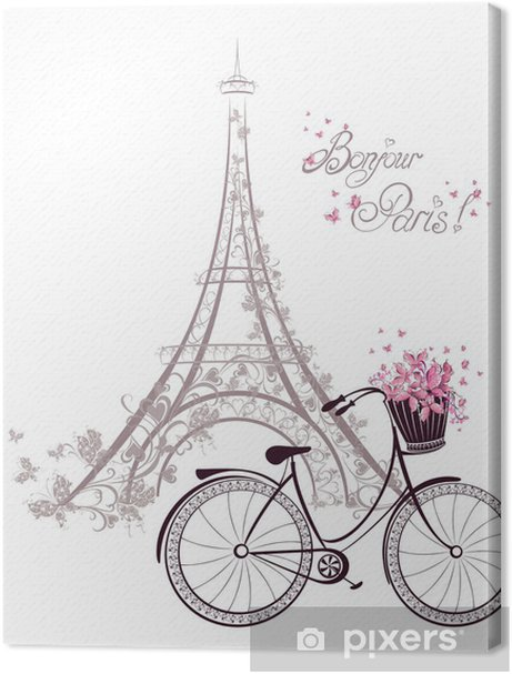 Bonjour Paris text with Eiffel Tower and bicycle Premium prints -