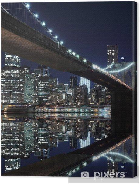 Brooklyn Bridge and Manhattan Skyline At Night, New York City Premium prints -