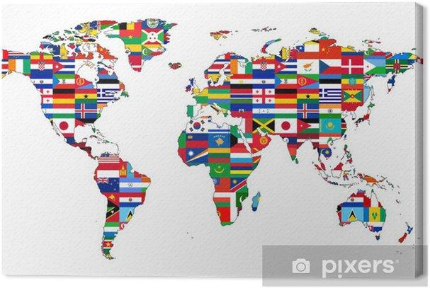 Carte du Monde avec drapeaux Premium prints - iStaging
