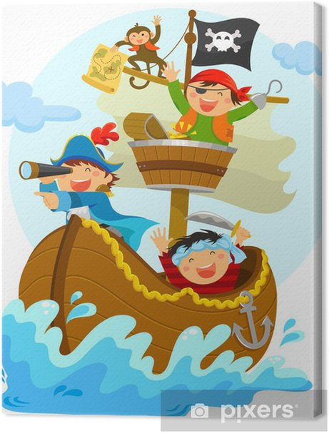 happy pirates sailing in their ship Premium prints - Wall decals