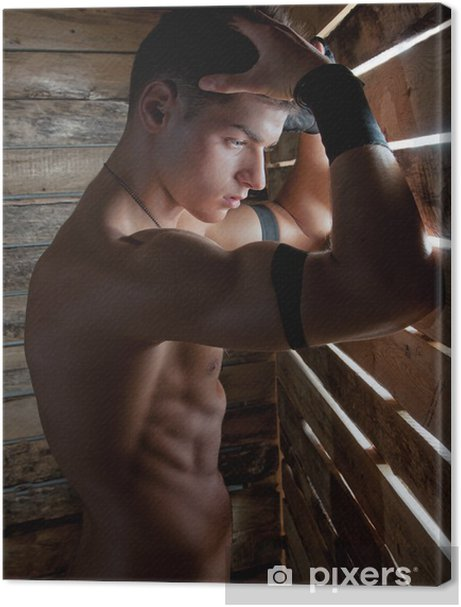 Muscle sexy naked young man near to wooden boards Premium prints - Themes