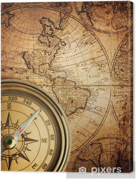 old compass on vintage map 1746 Premium prints - Themes
