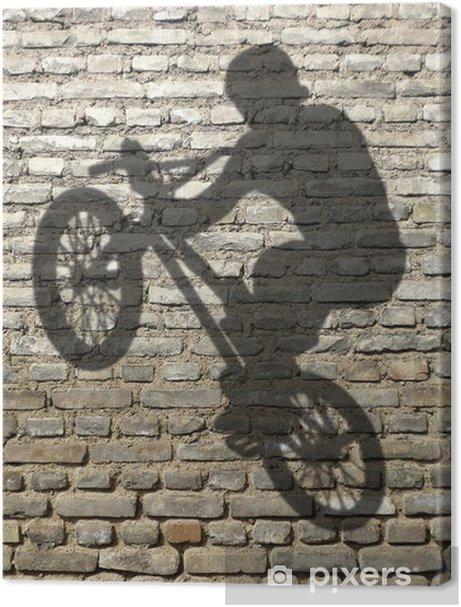 ombre d'homme en BMX sur mur de briques Premium prints - Cycling