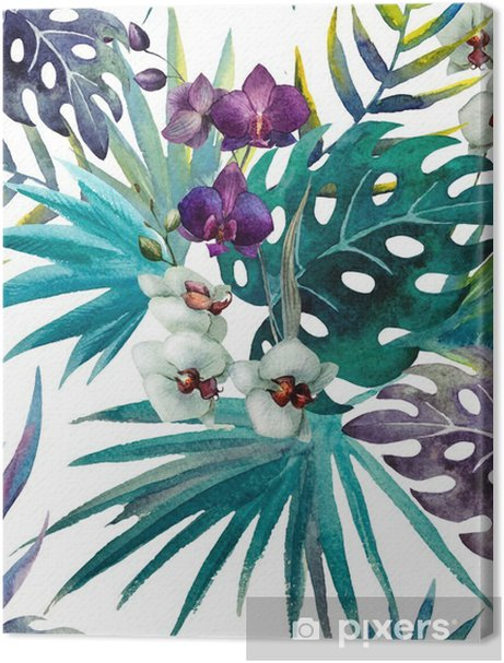 Orchid hibiscus leaves pattern, watercolor Premium prints - iStaging