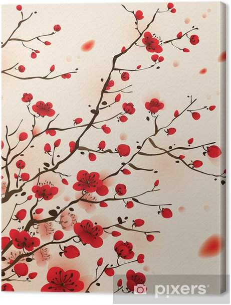 Oriental style painting, plum blossom in spring Premium prints - Styles