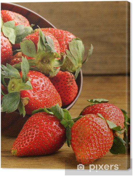 ripe juicy strawberries on a wooden background Premium prints - Themes