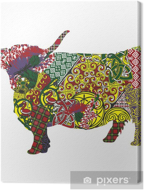 silhouette of a Scottish highland cow in Celtic patterns Premium prints - Europe