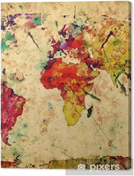 Vintage world map. Colorful paint, watercolor on grunge paper Premium prints -