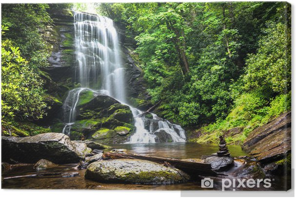 Waterfall amidst the forest greenery Premium prints - Waterfalls