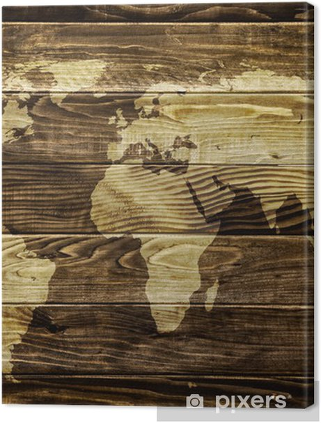 World map on wood background Premium prints -