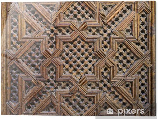 Print op glas Marokkaanse Cederhout Arabesque Carving - Afrika