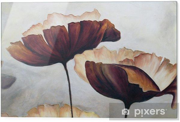 Print op glas Poppy abstract schilderij - Hobby's en Vrije tijd
