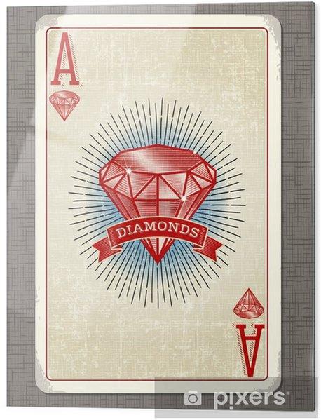 Print op glas Vintage speelkaart vector illustratie van de aas van diamanten - Hobby's en Vrije tijd