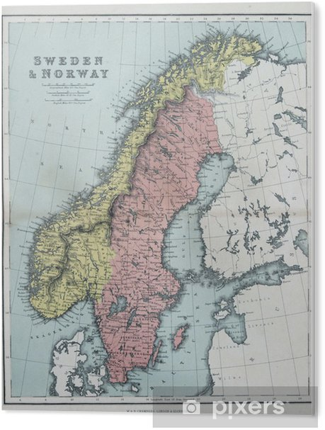 Pvc Bilde Gammelt Kart Over Sverige Og Norge 1870 Pixers Vi