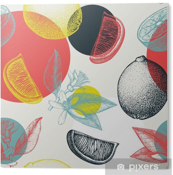 PVC-Bilde Vector sømløs mønster med blekk hånd trukket lime frukt, blomster, skive og blader skisse. Vintage sitrus bakgrunn i pastellfarger -