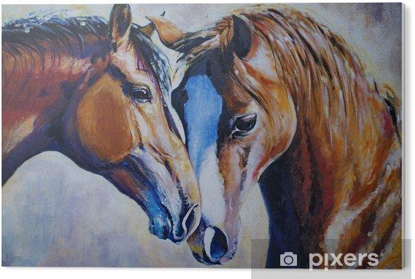 Kaksi hevosta PVC-muovituloste - Eläimet
