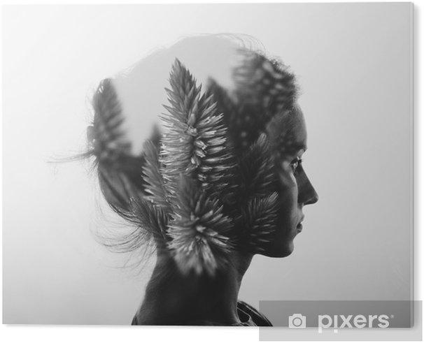 PVC Print Creative dubbele belichting met het portret van een jong meisje en bloemen, zwart-wit - Mensen