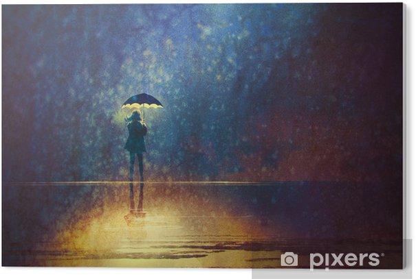 PVC Print Eenzame vrouw onder paraplu lichten in het donker, digitaal schilderen - Hobby's en Vrije tijd