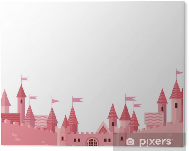 Frame with pink castle. PVC Print - Buildings and Architecture