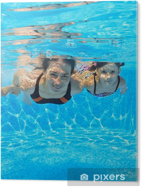 Happy Family Swim Underwater In Pool, Having Fun On
