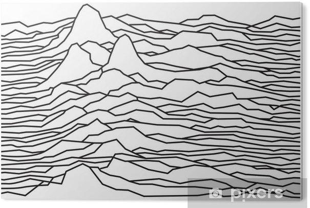 PVC Print Het ritme van de golven, de pulsar, vector lijnen ontwerp, gebroken lijnen, bergen - Grafische Bronnen