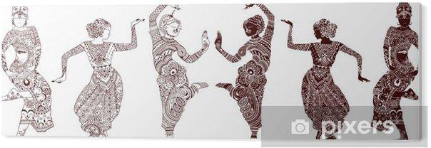 PVC Print Indiase dansers set van handgetekende stijl mehendi - Hobby's en Vrije tijd
