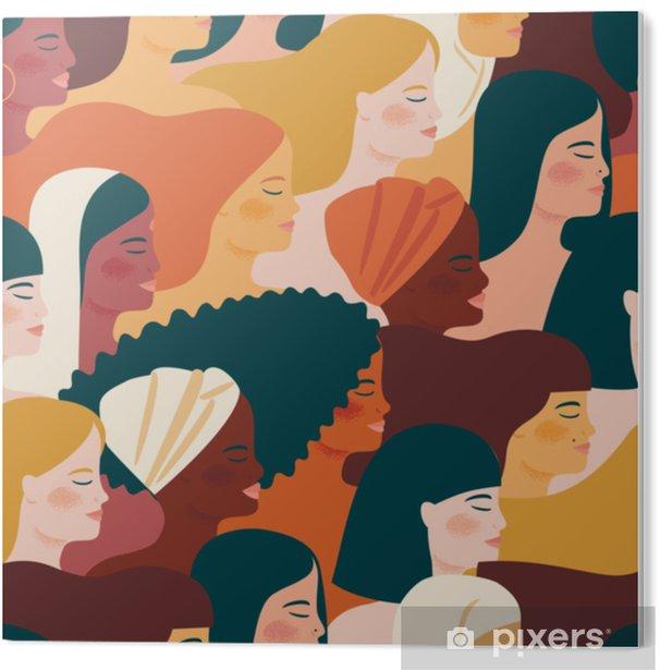 PVC Print Internationale Vrouwendag. vector naadloos patroon met met vrouwen verschillende nationaliteiten en culturen. - Mensen