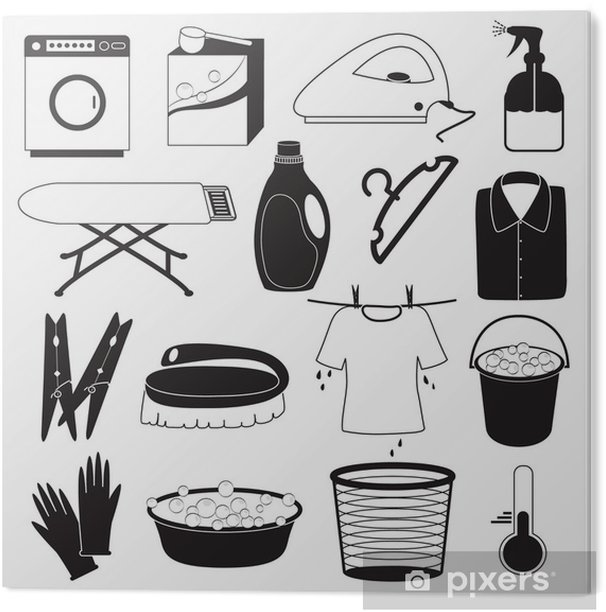 Laundry and Cleaning Icons PVC Print - Home and Garden