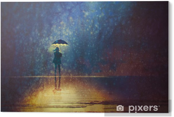 lonely woman under umbrella lights in the dark,digital painting PVC Print - Hobbies and Leisure