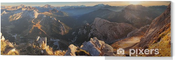 Mountain sunset panorama landscape - in Italy Alps - Dolomites PVC Print - Themes