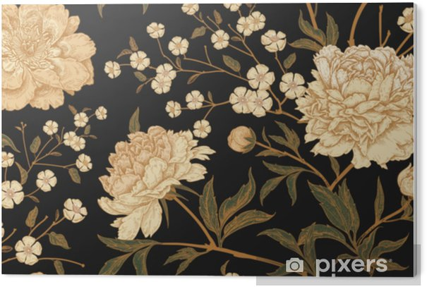 Seamless pattern with exotic bird pheasants and peony flowers. PVC Print - Plants and Flowers