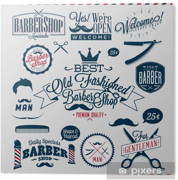 Set of vintage barber shop logo graphics and icons PVC Print -
