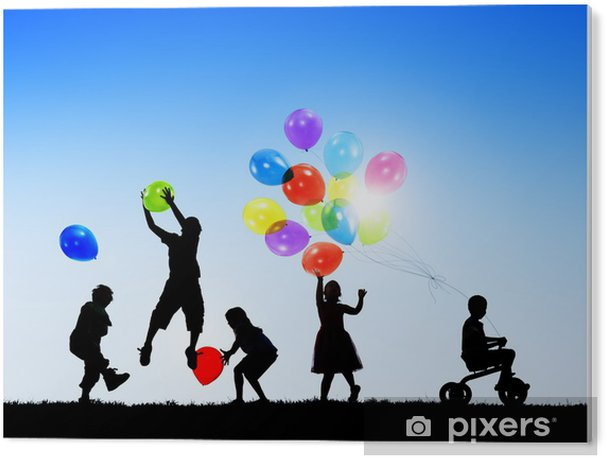 Silhouettes of Cheerful Children Playing Balloons Outdoors PVC Print - Groups and Crowds