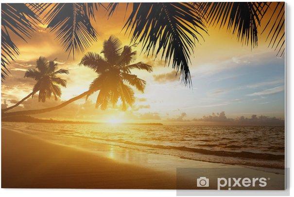 sunset on the Caribbean sea PVC Print - Palm trees