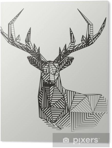 Vector low poly line art. Geometrical reindeer illustration. PVC Print - Animals
