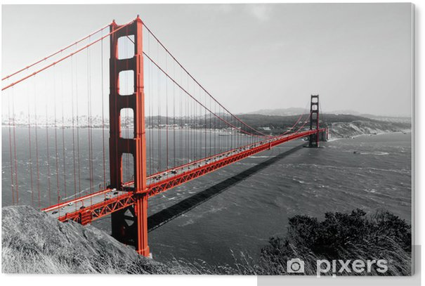 PVC Tavla Golden Gate-bron röd Pop på B - iStaging