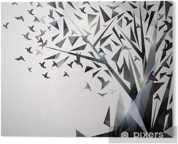 PVC Tavla Sammanfattning Träd med origamifåglar. - Teman