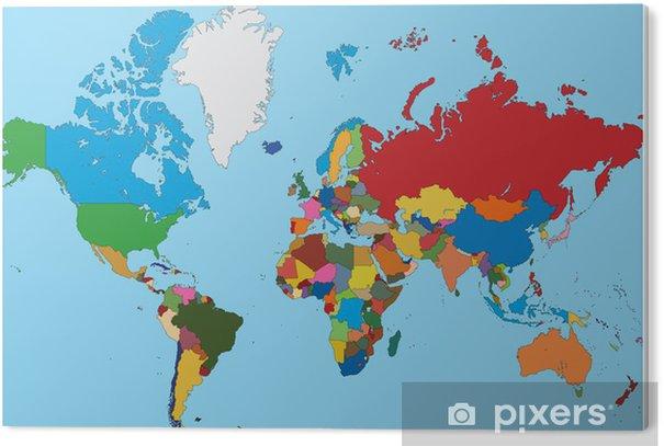 Farverige Kort Over Verden Pvc Tryk Pixers Vi Lever For