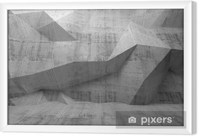 Quadro in Cornice Estratto concreto 3d interno scuro con modello poligonale sulla - Temi