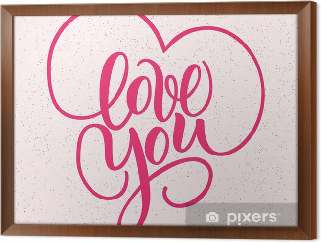 Quadro in Cornice Ti amo, scritta a mano pennello lettering con ...