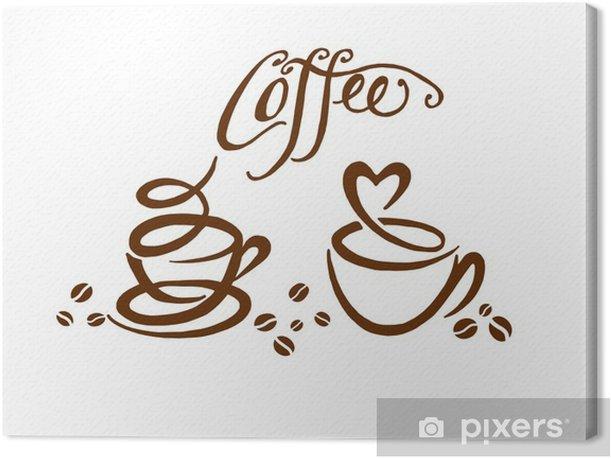 Quadro su Tela Красивая иллюстрация чашки кофе, кофейные зерна - Bevande