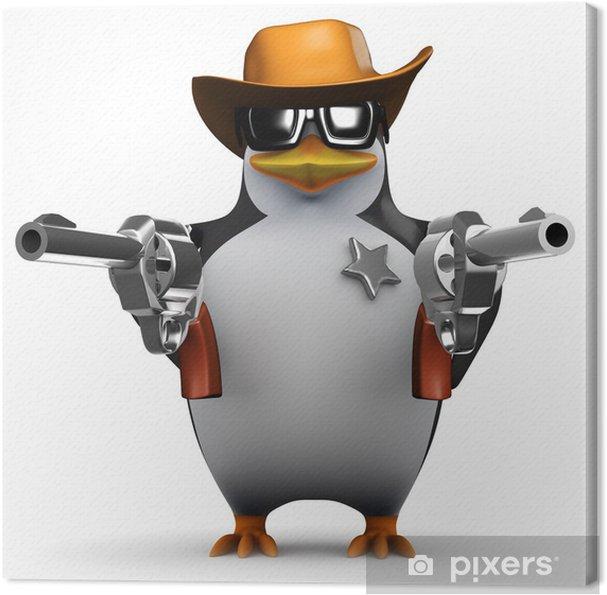 Quadro su Tela 3d Penguin vuole sapere se ti senti fortunato punk - Crimini e Violenza