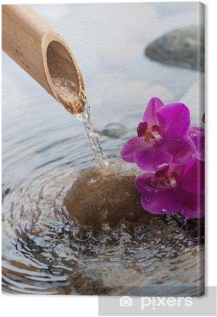 Quadro su Tela Acqua corrente sulle pietre accanto a fiori - Stili