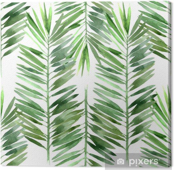 Quadro su Tela Acquarello foglia di palma senza soluzione di continuità - Piante & Fiori