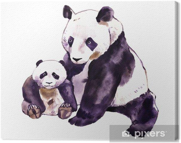 Quadro su tela acquerello di panda. panda bear e baby bear