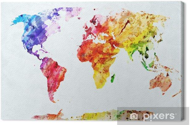 Quadro su Tela Acquerello mappa del mondo - Stili