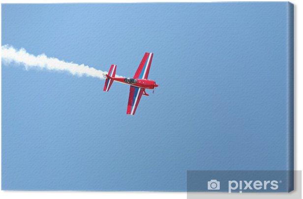 Quadro su Tela Acrobazie aeree - piano propulsore con cielo fumo blu - Temi